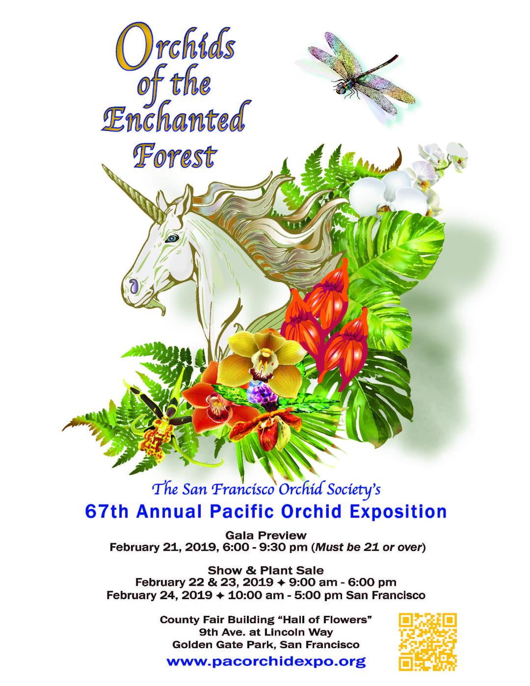 <b>`Orchids of the Enchanted Forest`<br/> 67th Pacific Orchid Exposition (POE)<br/>February 21st, through Sunday, February 24th, 2018<br/></b>