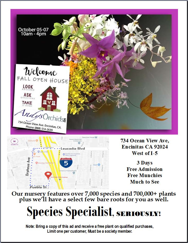 <b>Andys Orchids<br>Open House<BR>Oct 5-7<br></b>